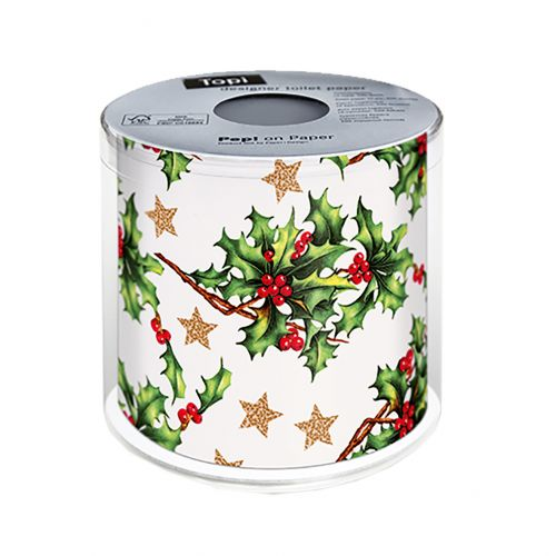 PAPER+DESIGN CHRISTMAS TOILET PAPER - HOLLY ALL OVER