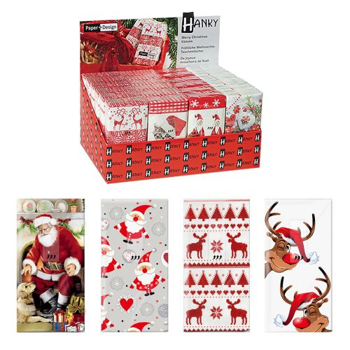 PAPER+DESIGN HANKY DISPLAY UNITS XMAS (CDU 24) - RED THEME