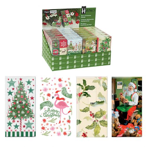 PAPER+DESIGN HANKY DISPLAY UNITS XMAS (CDU 24) - GREEN THEME