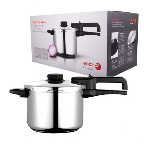 """FAGOR """"DUAL XPRESS"""" STAINLESS STEEL PRESSURE COOKER 6L"""