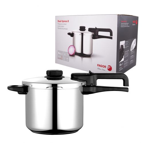 """FAGOR """"DUAL XPRESS"""" STAINLESS STEEL PRESSURE COOKER 8L"""
