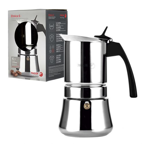 "FAGOR ""ETNICA"" 6 CUP STAINLESS STEEL ESPRESSO MAKER"