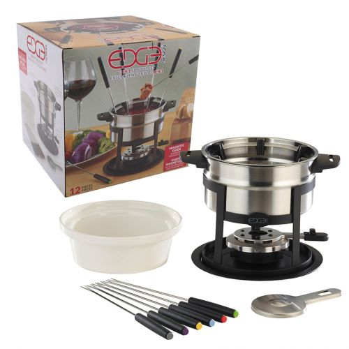 EDGE DESIGN 12 PIECE 3-IN-1 S/S FONDUE SET W/ MAGNETIC FORK GUIDE
