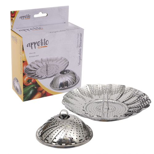 APPETITO STAINLESS STEEL VEGETABLE STEAMER BASKET 23CM DIA.