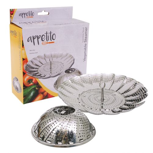APPETITO STAINLESS STEEL VEGETABLE STEAMER BASKET 28CM DIA.