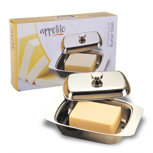 APPETITO STAINLESS STEEL BUTTER DISH W/ COVER