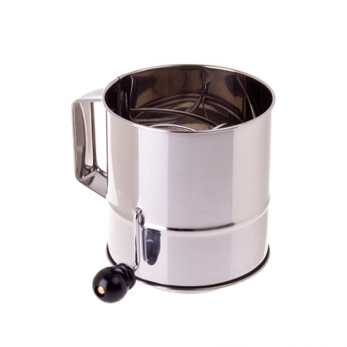 APPETITO STAINLESS STEEL 5 CUP FLOUR SIFTER CRANK