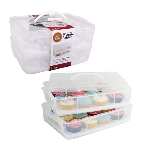 DAILY BAKE 24 CUP STACKABLE CUPCAKE CARRIER - WHITE