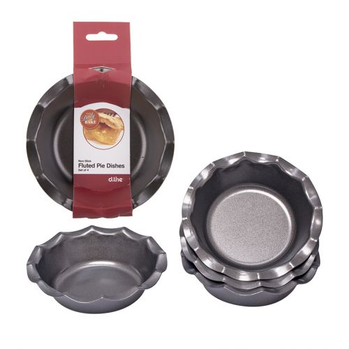 DAILY BAKE NON-STICK FLUTED PIE DISH 12.5CM DIA. SET 4