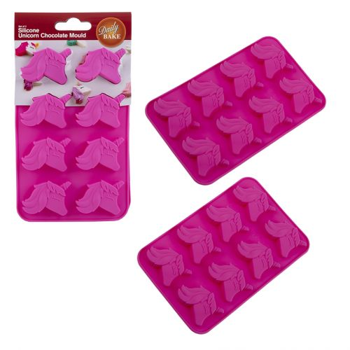 DAILY BAKE SILICONE UNICORN 8 CUP CHOCOLATE MOULD SET 2 - PINK