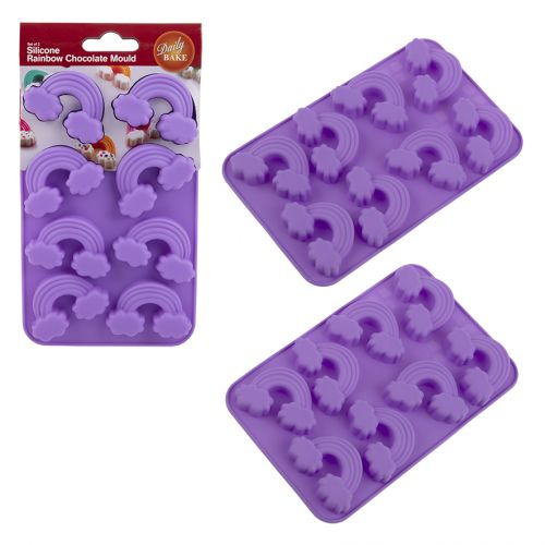 DAILY BAKE SILICONE RAINBOW 8 CUP CHOCOLATE MOULD SET 2 - PURPLE