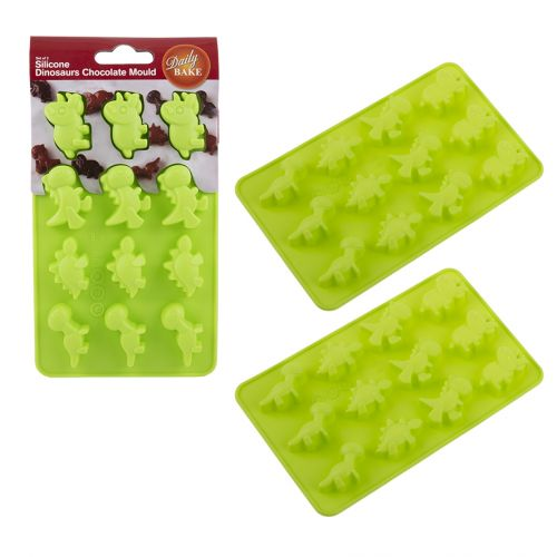 DAILY BAKE SILICONE DINOSAUR 8 CUP CHOCOLATE MOULD SET 2 - GREEN