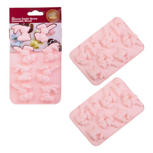 DAILY BAKE SILICONE EASTER BUNNY 8 CUP CHOCOLATE MOULD SET 2 - PINK