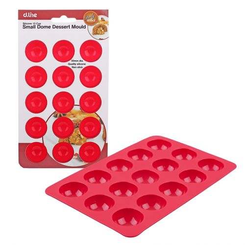DAILY BAKE SILICONE 15 CUP SMALL DOME DESSERT MOULD 30 X 15MM - RED