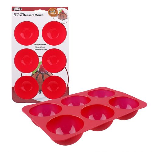 DAILY BAKE SILICONE 6 CUP DOME DESSERT MOULD 66MM DIA. X 40MM - RED