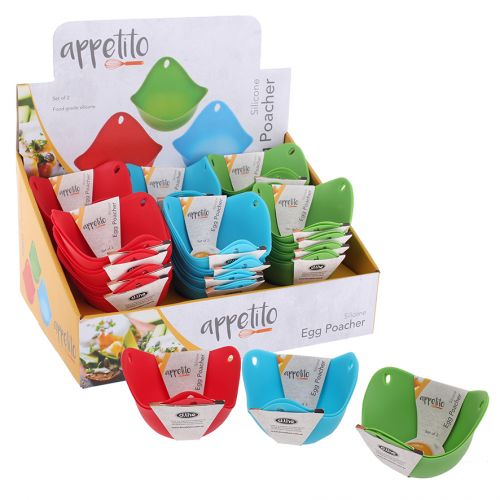 APPETITO SILICONE EGG POACHERS SET 2 (CDU 24) - ASST. COLOURS