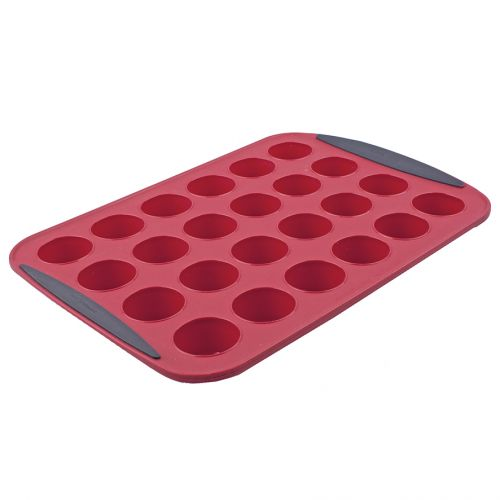 DAILY BAKE SILICONE 24 CUP MINI MUFFIN PAN - RED