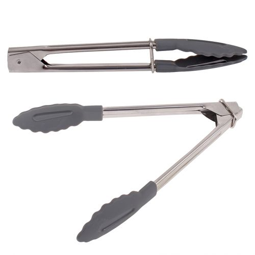 APPETITO STAINLESS STEEL MINI TONGS W/ NYLON HEAD 18CM - CHARCOAL