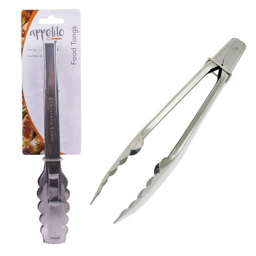 APPETITO STAINLESS STEEL TONGS W/ FLAT TIPS 23CM