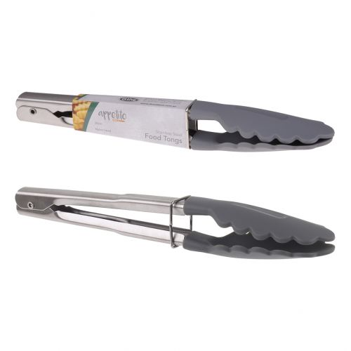 APPETITO STAINLESS STEEL TONGS W/ NYLON HEAD 24CM - CHARCOAL