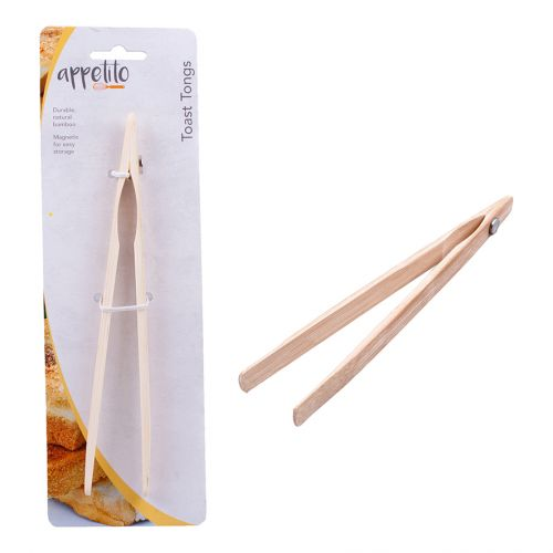 APPETITO BAMBOO TOAST TONGS W/ MAGNET 20CM