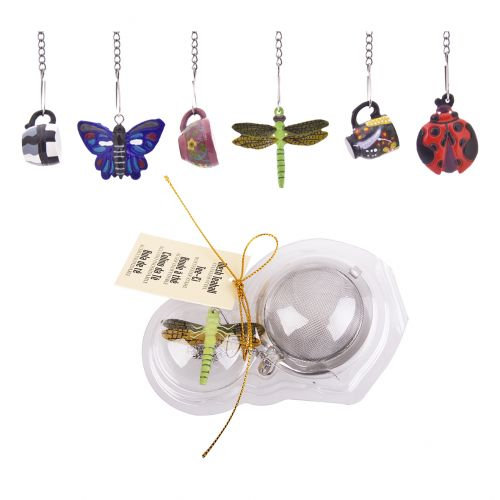 TEAOLOGY STAINLESS STEEL MESH TEA BALL W/ NOVELTY BUG/CUP DECORATIONS