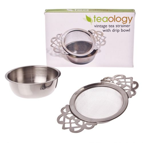 TEAOLOGY VINTAGE STAINLESS STEEL TEA STRAINER W/ DRIP BOWL