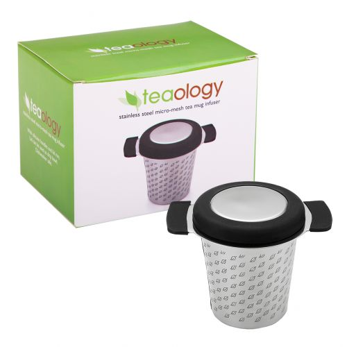 TEAOLOGY STAINLESS STEEL MICROMESH TEA MUG INFUSER W/ LID - BLACK