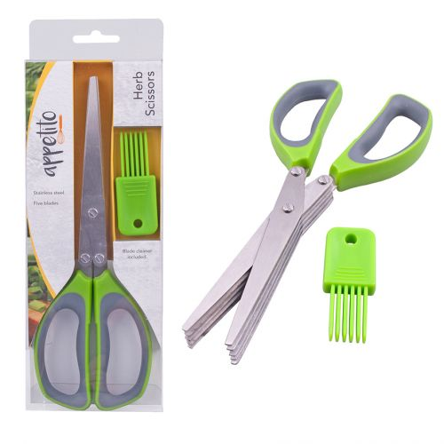 APPETITO HERB SCISSORS (5 BLADES) - GREEN/GREY