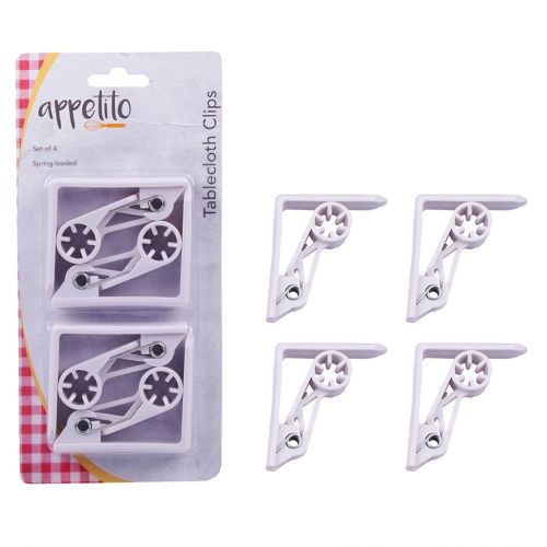APPETITO SPRING ACTION PLASTIC TABLECLOTH CLIPS SET 4 - WHITE