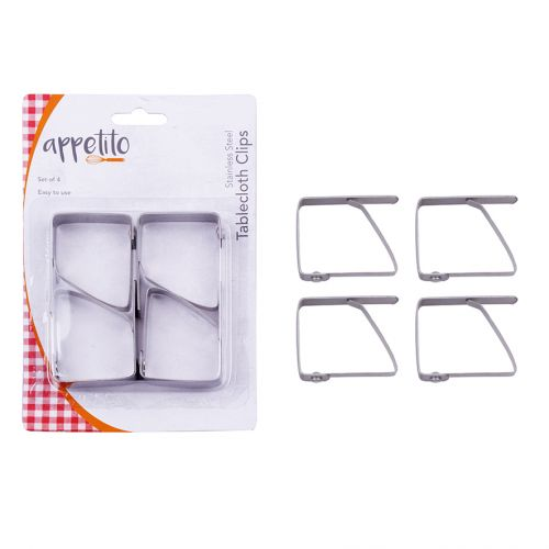 APPETITO STAINLESS STEEL TABLECLOTH CLIPS SET 4