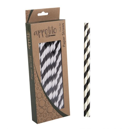 APPETITO PAPER STRAWS PACK 50 - BLACK STRIPES
