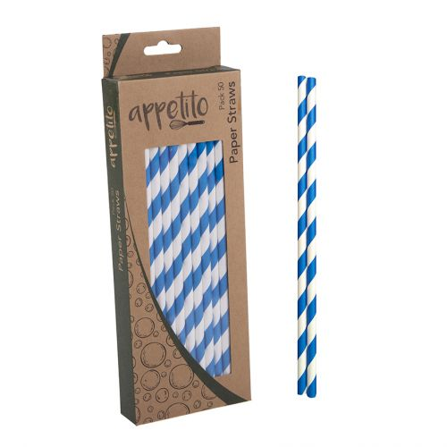 APPETITO PAPER STRAWS PACK 50 - BLUE STRIPES