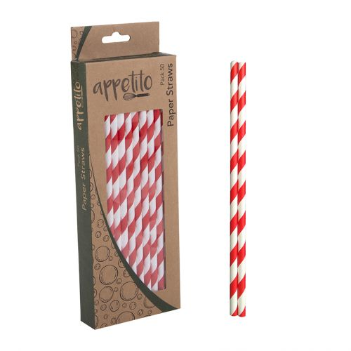 APPETITO PAPER STRAWS PACK 50 - RED STRIPES