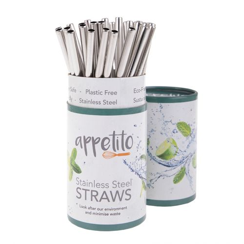 APPETITO STAINLESS STEEL STRAIGHT SMOOTHIE STRAWS (TUB 36)