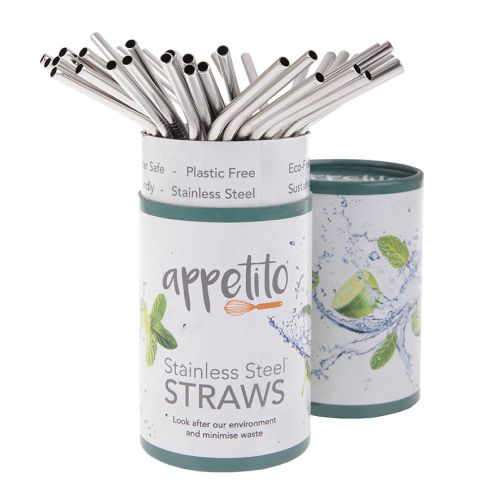APPETITO STAINLESS STEEL BENT DRINKING STRAWS (TUB 36)
