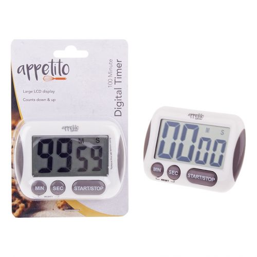 APPETITO DIGITAL TIMER W/ LARGE LCD DISPLAY - 100 MINUTES - WHITE