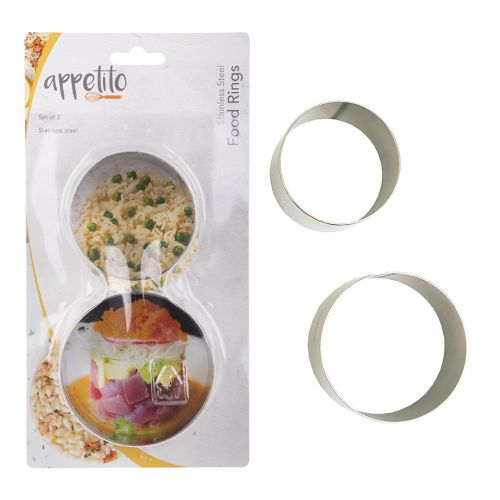 APPETITO STAINLESS STEEL ROUND FOOD RINGS SET 2 63MM & 75MM DIA. X 45MM HIGH