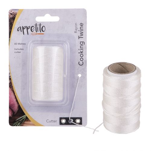 APPETITO RAYON COOKING TWINE 60 METRES W/ CUTTER - WHITE