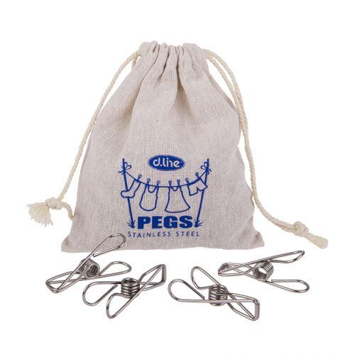 D.LINE STAINLESS STEEL LARGE WIRE PEGS IN HEMP BAG PACK 30