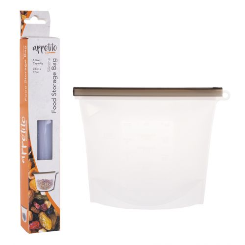 APPETITO SILICONE REUSABLE FOOD STORAGE BAG 1L 23 X 17CM - WHITE