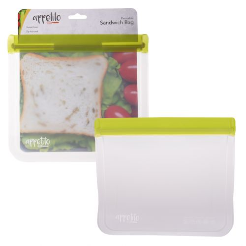 APPETITO REUSABLE SANDWICH BAG 21.5 X 19.5CM - GREEN