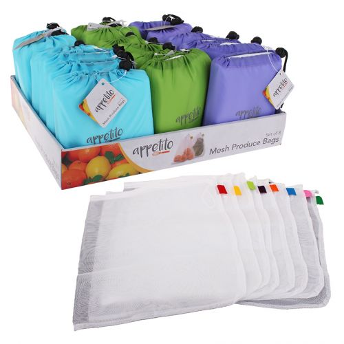 APPETITO MESH PRODUCE BAG SET 8 W/ POUCH (CDU 18) - MULTI-COLOUR