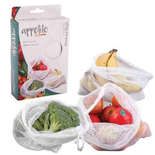 APPETITO WOVEN NET PRODUCE BAGS SET 3 - WHITE