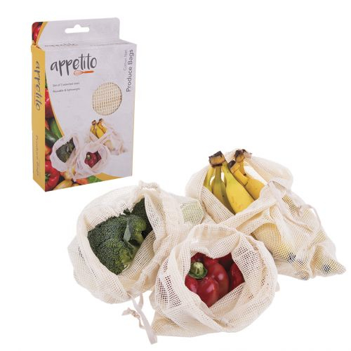 APPETITO COTTON NET PRODUCE BAGS SET 3 ASST. SIZES