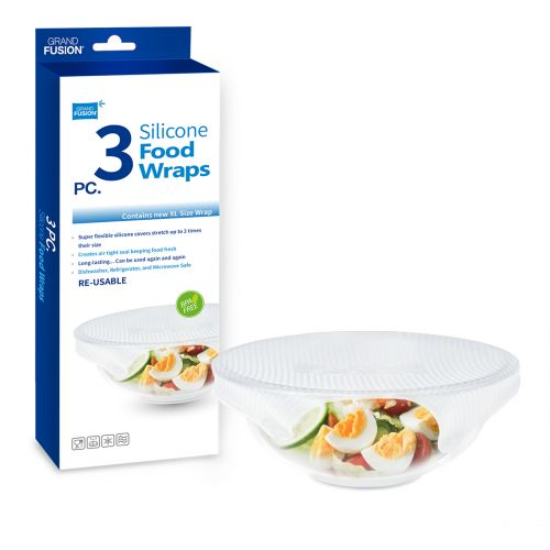 GRAND FUSION SILICONE FOOD WRAPS XL 3 PACK
