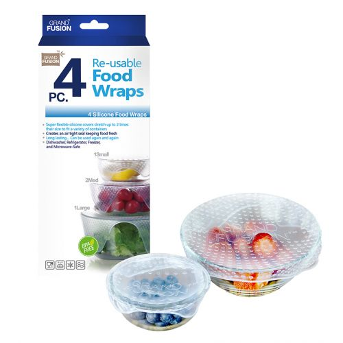 GRAND FUSION SILICONE FOOD WRAPS 4 PACK