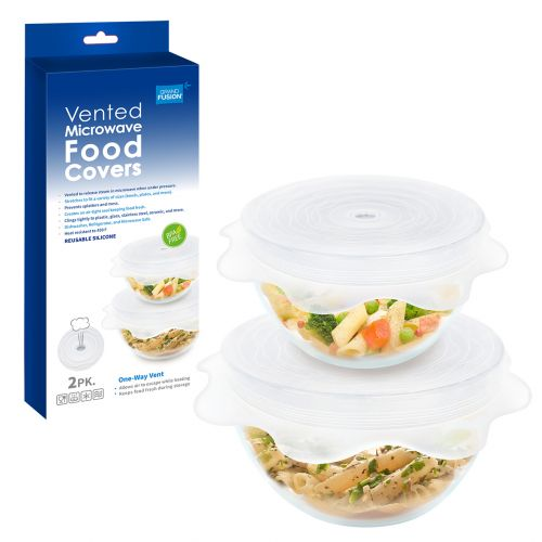 GRAND FUSION VENTED SILICONE MICROWAVE FOOD COVERS SET 2