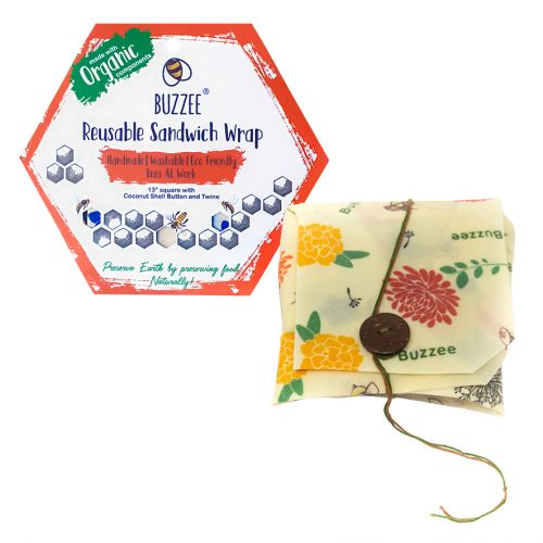 BUZZEE ORGANIC BEESWAX SANDWICH WRAP - BEES AT WORK