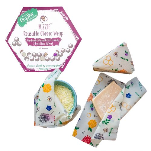 ORGANIC BEESWAX CHEESE WRAPS PACK 3 - BEES AT WORK